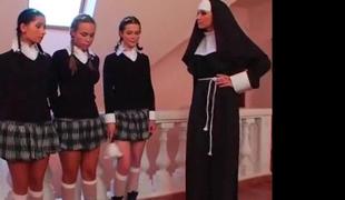 2 schoolgirls and a Nun