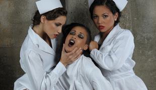Two hawt nurses fuck their lesbo prisoner