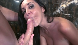 Big boobed mom Ava Addams makes fellow cum in the shower