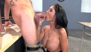 Ava Addams is a horny MILF teacher with perfect big boobs, This babe bares her massive hooters with the addition of receives down on her knees before her student finds his dick sucked. This passionate big titted lady fucks like a first rate hoe!