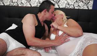 Blonde grandma loves to suck and fuck