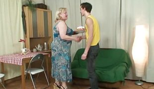 Mother adjacent to law`s birthday blowjob