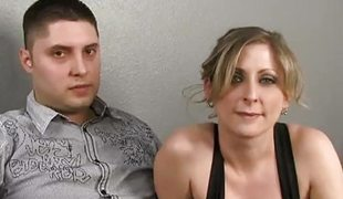 Blonde milf cuckolds her man with a darksome stud