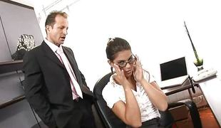 Enticing secretary acquires fucked hardcore by her boss