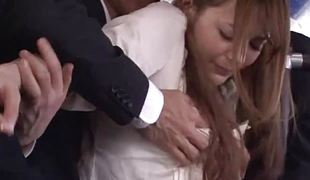 Shy japanese chick fingered in the bus