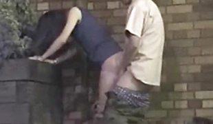 Oriental couple enjoying sex at night.
