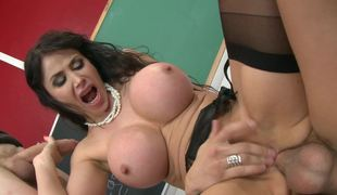 A massive milk cans milf is getting her pussy and ass stretched a lot