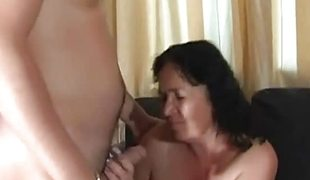 Chubby mature brunette takes young stud`s cock
