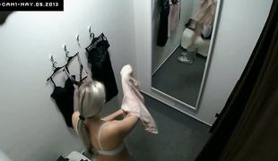 Voyeur With an eye to Blonde Fitting Lingerie