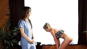 Girl girl massage turns into lesbian sex