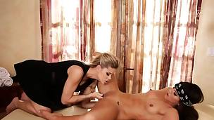 Blonde masseuse seduces lesbian whore into sexy action