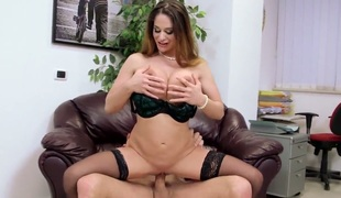 Office sex with chubby breasted hot MILF Cathy Heaven