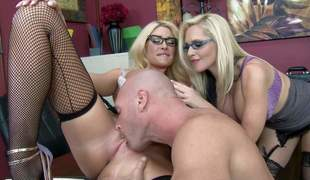 Big racked blondes with glasses collaborate to share guys corpulent cock in triune action. Office sluts lick his love be relevant and get their Nautical port snatches eaten out . These three do it like crazy!