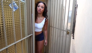 Ebon babe receives pounded at one's disposal the office