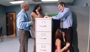 Hot women are doing some lubricious fucking in the office