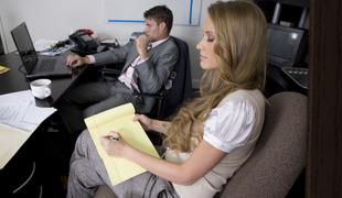Torment haired blondie seducing her boss