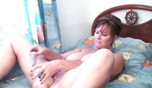 Puristic pussy grannies masturbates nicely in solo.