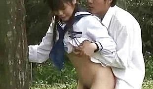 Asian schoolgirl screwed outdoors